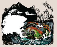 Chinese dragon guardian of the earth`s waters stock photography