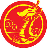 Chinese Dragon. A half red and yellow body Chinese dragon flying on the sky Royalty Free Stock Photos