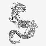 Chinese dragon hand drawn. Chinese dragon, hand drawn  sketch illustration. Black and white drawing Royalty Free Stock Photos