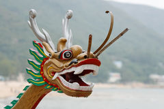 Chinese dragon head. A Chinese dragon head of a dragon boat royalty free stock images