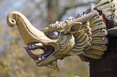 Chinese dragon head carving Royalty Free Stock Photo