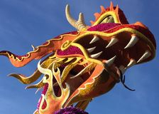 Chinese Dragon head of flowers royalty free stock photos