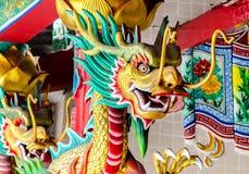 Chinese Dragon head on pillar Royalty Free Stock Photography