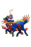Chinese dragon head unicorn in white isolate background Stock Image