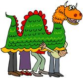 Chinese dragon. This illustration depicts four people beneath a Chinese dragon costume with one man peering out Royalty Free Stock Photography