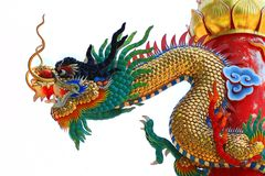 Chinese Dragon Isolate On White Stock Photo