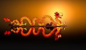 Chinese Dragon Lantern on pond Stock Images