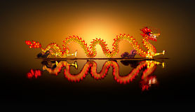 Chinese Dragon Lantern on pond Stock Photo