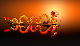 Chinese Dragon Lantern on pond Stock Photography