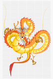 Chinese Dragon New Year. Chinese Gold Dragon New Year With Fire Hair And Golden Scales Royalty Free Stock Photo