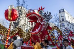 Chinese Dragon - Chinese New Year Parade, Paris 2018 stock image