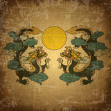 Chinese dragon on old grunge paper Stock Photography
