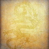 Chinese dragon on old paper Stock Photo