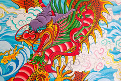 Chinese dragon painting on the wall. At Chinese temple, Thailand Stock Images