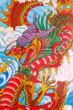 Chinese dragon painting on the wall. At Chinese temple, Thailand Stock Photo