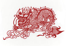 Chinese-dragon,paper cutting Chinese Zodiac. Royalty Free Stock Images
