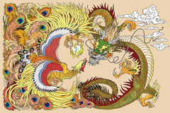 Chinese dragon and phoenix playing a pearl. Chinese dragon and phoenix feng huang playing with a pearl ball . Vector illustration Royalty Free Stock Images