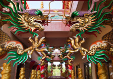 Chinese dragon on the pillar in shrine Royalty Free Stock Images