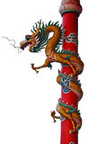 The Chinese dragon pole. On white background Royalty Free Stock Image