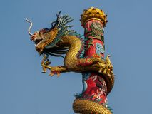 Chinese dragon on blue sky background stock images