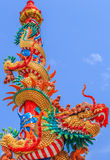 Chinese dragon on the pole. This colorful Chinese dragon on the pole image is taken from a public Chinese shrine Royalty Free Stock Images