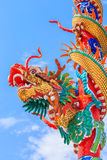 Chinese dragon on the pole. This colorful Chinese dragon on the pole image is taken from a public Chinese shrine Royalty Free Stock Image