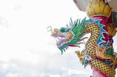 Chinese Dragon on pole. In temple Stock Photography