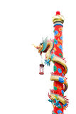 Chinese dragon. On the pole in white background Royalty Free Stock Photography