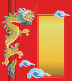 Chinese dragon on red background Stock Photos