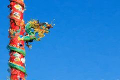 Chinese Dragon on Red Pillar on Blue Background, Processed in Pa Royalty Free Stock Photos