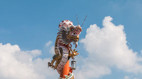 Chinese dragon on the red pole at Wat Phananchoeng, Ayutthaya, T Stock Photography