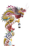 Chinese dragon on the red pole Royalty Free Stock Image