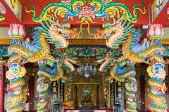 Chinese dragon sculpture in guanyu shrine. Colorful Royalty Free Stock Photography