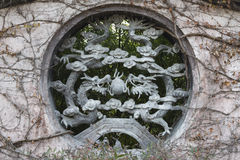 Chinese dragon Sculpture window Royalty Free Stock Photos