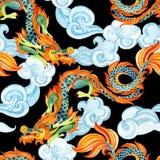 Chinese Dragon seamless pattern. Asian dragon illustration Stock Images