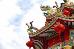 Chinese Dragon in the shrine. Royalty Free Stock Image