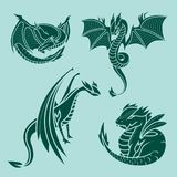 Chinese dragon silhouettes tattoo mythology tail monster magic icon asian animal art vector illustration. Chinese dragon silhouettes tattoo mythology tail Stock Images