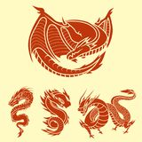 Chinese dragon silhouettes tattoo mythology tail monster magic icon asian animal art vector illustration. Stock Images