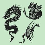 Chinese dragon silhouettes tattoo mythology tail monster magic icon asian animal art vector illustration. Stock Photo