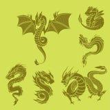 Chinese dragon silhouettes tattoo mythology tail monster magic icon asian animal art vector illustration. Royalty Free Stock Photos