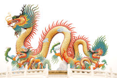 Chinese dragon statue. On white background Royalty Free Stock Photography