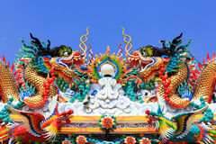 Chinese dragon statue art. On roof  Chinese  temple Royalty Free Stock Photography