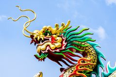 Chinese Dragon statue on the blue sky Stock Photo