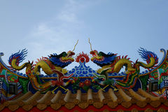 Chinese dragon statue chinese temple. Traditional Chinese dragon Colorful chinese style dragon statue  on a temples arched entrance of Chinese shrine Royalty Free Stock Images