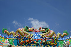 Chinese dragon statue chinese temple. Traditional Chinese dragon Colorful chinese style dragon statue  on a temples arched entrance of Chinese shrine Royalty Free Stock Photography
