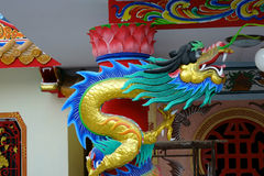 Chinese dragon statue chinese temple. Traditional Chinese dragon Colorful chinese style dragon statue  on a temples arched entrance of Chinese shrine n Royalty Free Stock Images