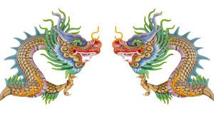 Chinese dragon statue isolated. royalty free illustration
