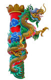 Chinese dragon statue isolated on white with clipping path. Stock Image