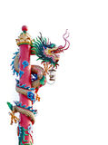 Chinese dragon statue with lamp on the pole Royalty Free Stock Images