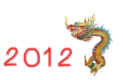 Chinese dragon statue and number 2012 Stock Photo